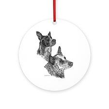 Blue Heeler & Red Heeler - ACD Ornament (Round