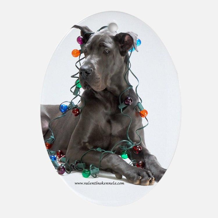 Cute Great dane Oval Ornament