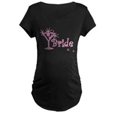 Pink Curly Martini Bride T-Shirt