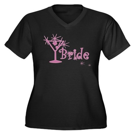 Pink Curly Martini Bride Women's Plus Size V-Neck