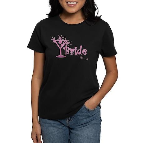 Pink Curly Martini Bride Women's Dark T-Shirt