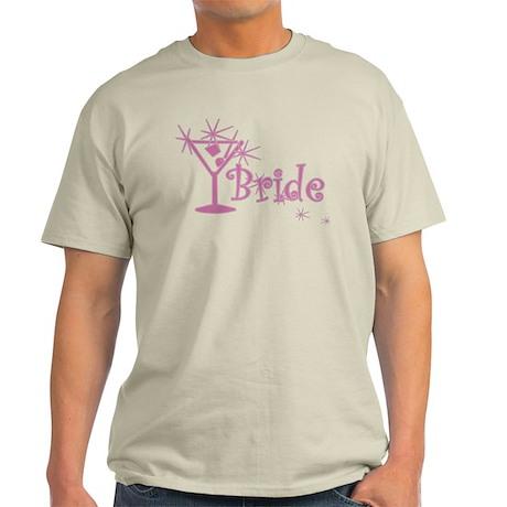 Pink Curly Martini Bride Light T-Shirt