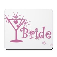 Pink Curly Martini Bride Mousepad