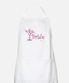 Pink Curly Martini Bride BBQ Apron