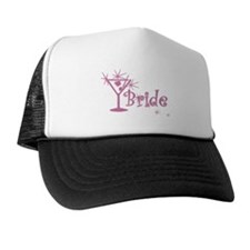 Pink Curly Martini Bride Trucker Hat