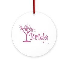 Pink Curly Martini Bride Ornament (Round)