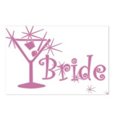 Pink Curly Martini Bride Postcards (Package of 8)