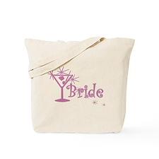 Pink Curly Martini Bride Tote Bag