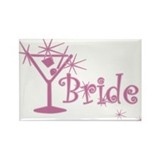 Pink Curly Martini Bride Rectangle Magnet