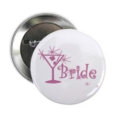 """Pink Curly Martini Bride 2.25"""" Button (10 pack)"""