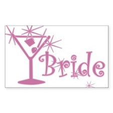 Pink Curly Martini Bride Rectangle Decal