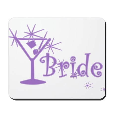 Purple Curly Martini Bride Mousepad