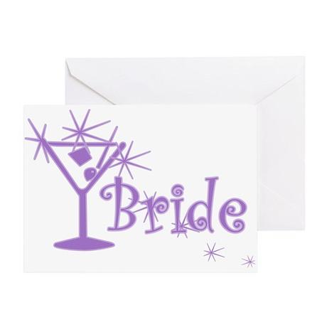 Purple Curly Martini Bride Greeting Card