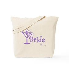 Purple Curly Martini Bride Tote Bag