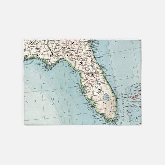 Vintage Map of Florida (1900) 5'x7'Area Rug