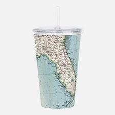 Vintage Map of Florida Acrylic Double-wall Tumbler