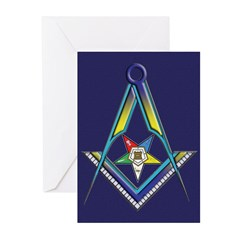 The Square, Compasses and Star Greeting Cards (Pk