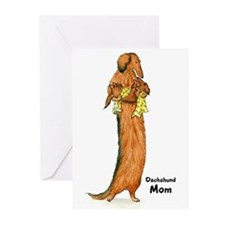 Longhaired Dachshund Mom Greeting Cards (Pk of 10)