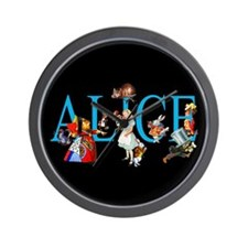 Alice in Black Wall Clock