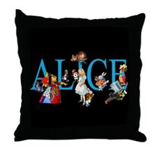 Alice in Black Throw Pillow