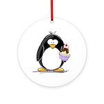 Ice Cream Sundae Penguin Ornament (Round)