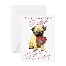 Pug I Love Mom Greeting Card