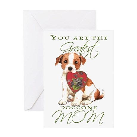 Parson Russell I Love Mom Greeting Card