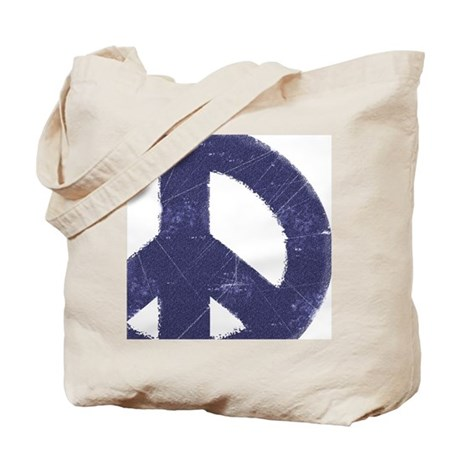 Vintage Blue Peace Sign Tote Bag
