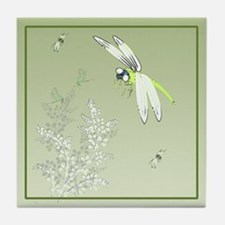 Green Dragonflies and Plants  Tile Coaster