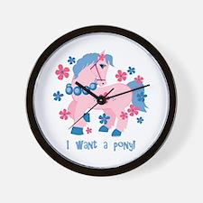 I Want A Pony Wall Clock