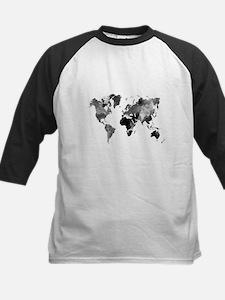 Design 42 World Map Grey Scale Baseball Jersey