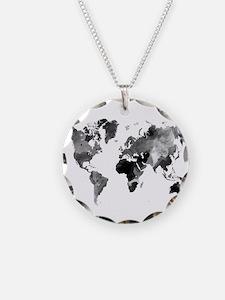 Design 42 World Map Grey Sca Necklace