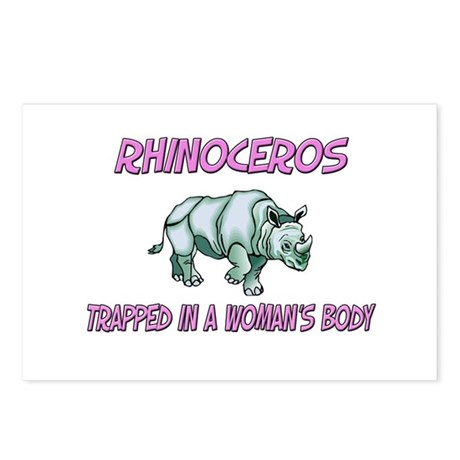 Rhinoceros Trapped In A Woman's Body Postcards (Pa