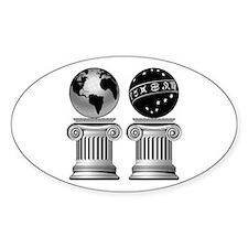 Two Masonic Pillars Oval Decal