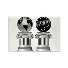 Two Masonic Pillars Rectangle Magnet