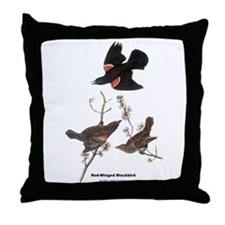 Audubon Red-Winged Blackbird Throw Pillow