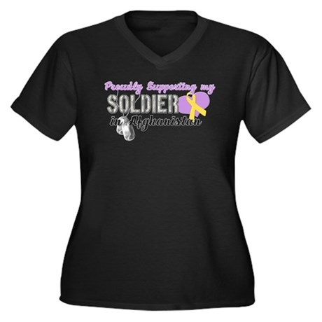 Proudly Supporting my Soldier Women's Plus Size V-
