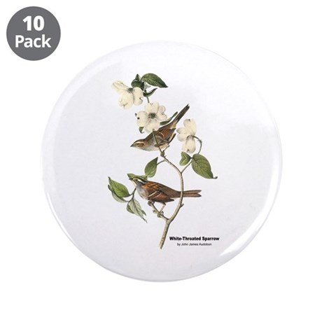 "Audubon White-Throated Sparrow 3.5"" Button (10 pac"