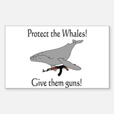 protect the whales! give them Rectangle Decal