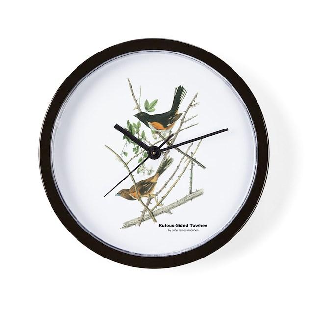 Wall clock bird design : Audubon towhee bird wall clock by withnature