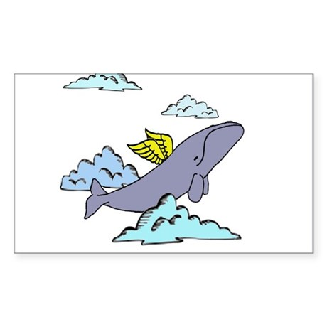 cute flying whale Rectangle Sticker