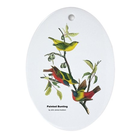 Audubon Painted Bunting Bird Oval Ornament
