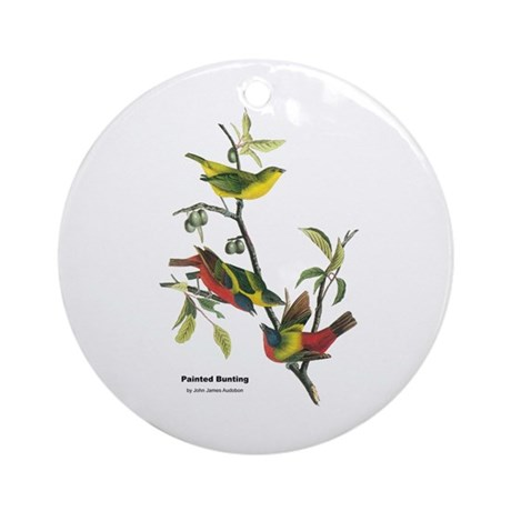 Audubon Painted Bunting Bird Ornament (Round)