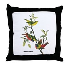 Audubon Painted Bunting Bird Throw Pillow