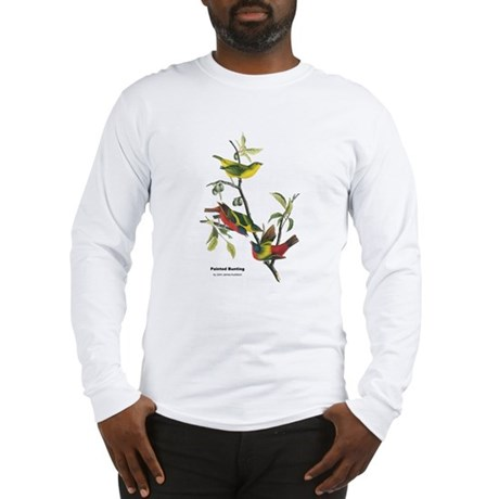 Audubon Painted Bunting Bird Long Sleeve T-Shirt