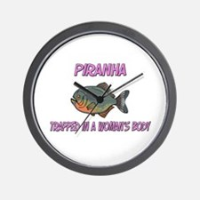 Piranha Trapped In A Woman's Body Wall Clock