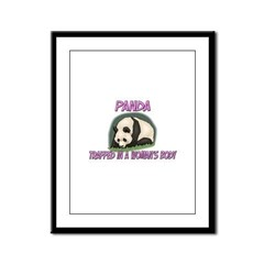 Panda Trapped In A Woman's Body Framed Panel Print