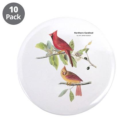"""Audubon Northern Cardinal Bird 3.5"""" Button (10 pac"""