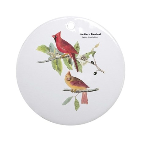 Audubon Northern Cardinal Bird Ornament (Round)