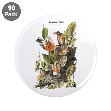 "Audubon American Robin Birds 3.5"" Button (10 pack)"